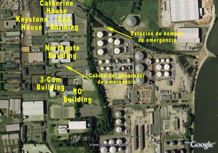 Ubicación de los edificios comerciales y situación de las dos explosiones confinadas que pudieron iniciar la cadena de deflagraciones.